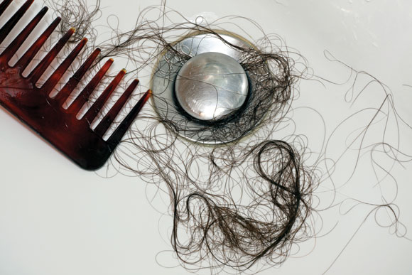 Hair in clogged drain