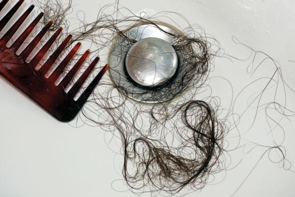 Hair in clogged drain